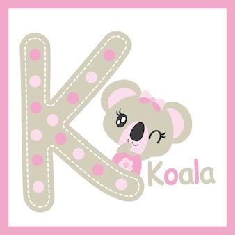 Симпатичный ребенок коала, кроме буквы k, векторный мультфильм для дизайна детской душевой, дизайн майки-майки и детская площадка