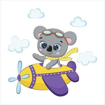 비행기를 타고 날아가는 귀여운 아기 코알라. 만화 벡터 일러스트 레이 션.