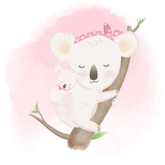 Cute baby koala and mother hand drawn illustration