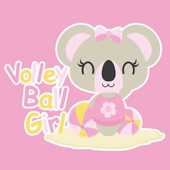 Симпатичный ребенок коала играет волейбол мяч вектор мультфильм иллюстрации для ребенка дизайн карты душа, майка дизайн майка, и обои