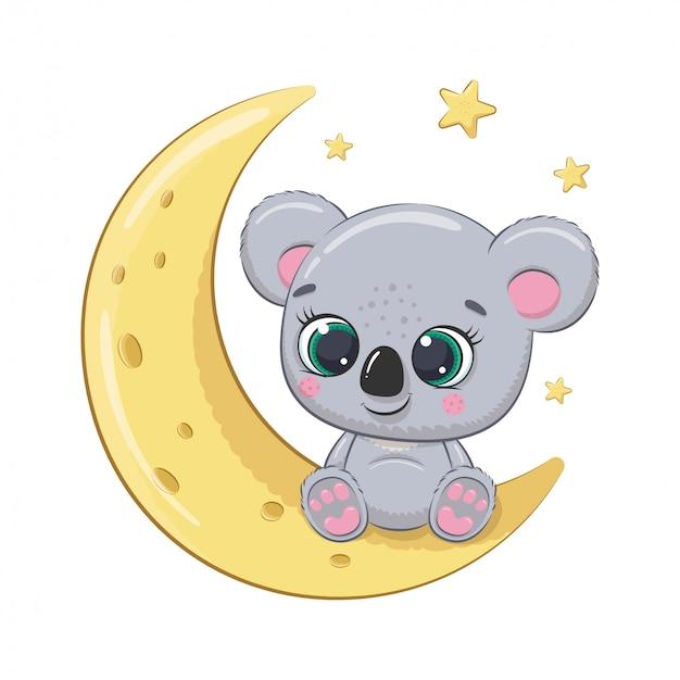 月に座っているかわいい赤ちゃんコアラ。ベビーシャワー、グリーティングカード、パーティーの招待状、ファッション服tシャツプリントのイラスト。