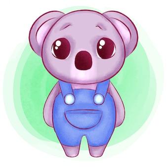 귀여운 아기 코알라 수채화 그림