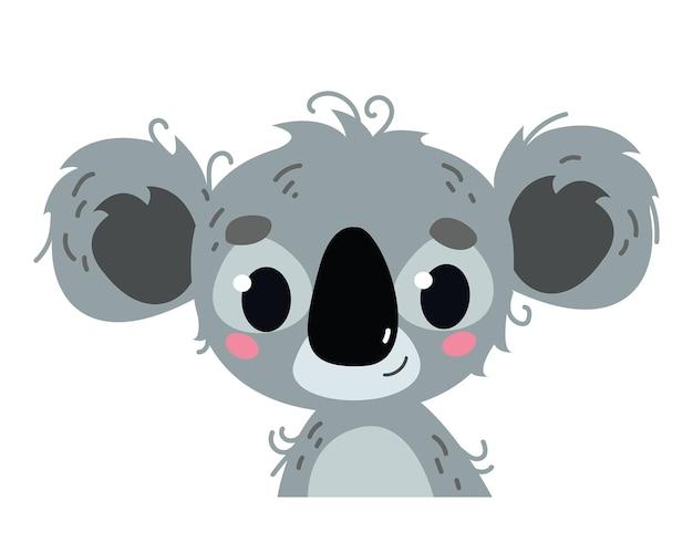 귀여운 아기 코알라. 야생 아프리카 동물 아바타입니다. 세로 그림 흰색 절연입니다. 아기 인쇄, 엽서, 의류, 배너 클립 아트 재미를 위한 디자인