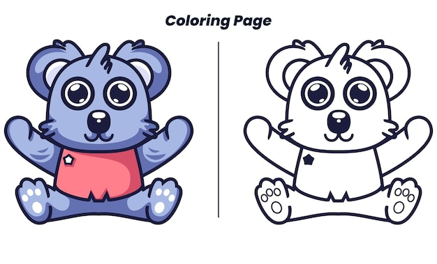 Cute baby koala with coloring pages