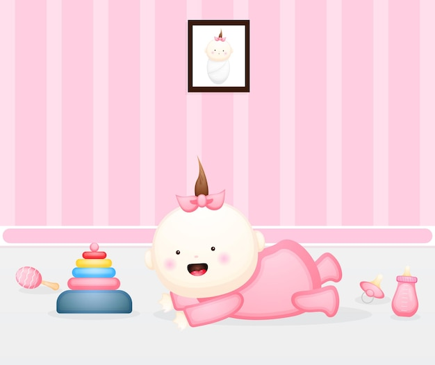 Cute baby learn to crawl premium vector