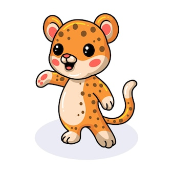 かわいい赤ちゃんヒョウの漫画のポーズ