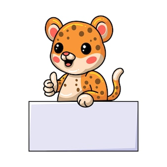 Cute baby leopard cartoon with blank sign and giving thumb up