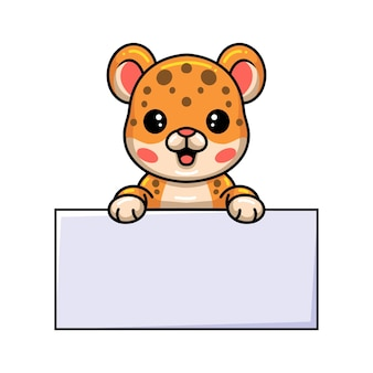 Милый ребенок леопарда мультфильм с пустой знак