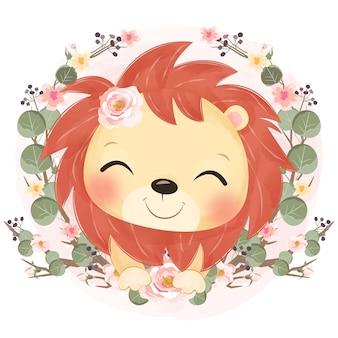 かわいい赤ちゃんライオンと春の花のイラスト