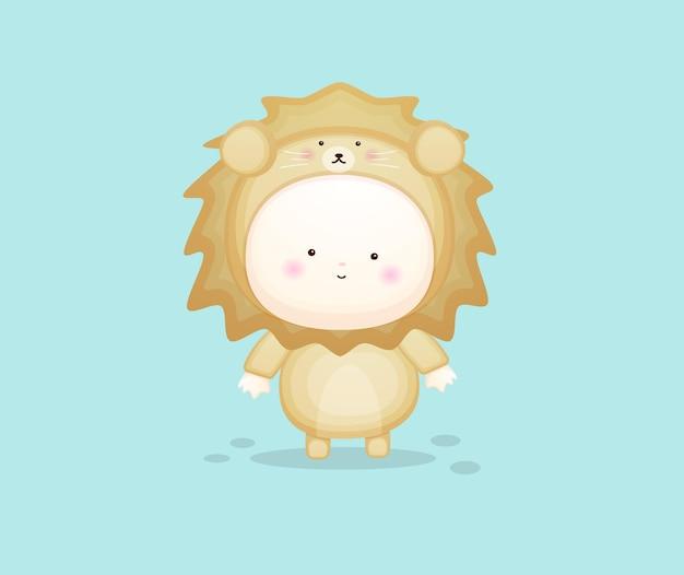 Cute baby in lion costume. mascot cartoon illustration premium vector