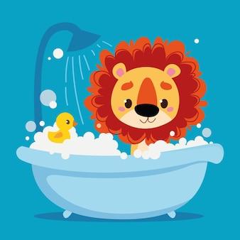 かわいい赤ちゃんライオンの子がお風呂で入浴しますキッズ漫画のキャラクター動物清潔なバスルーム