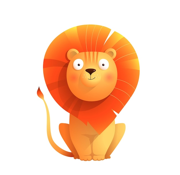 Cute baby lion design isolated on white