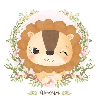 수채화에 귀여운 아기 사자