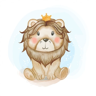 Cute baby lion king watercolor illustration
