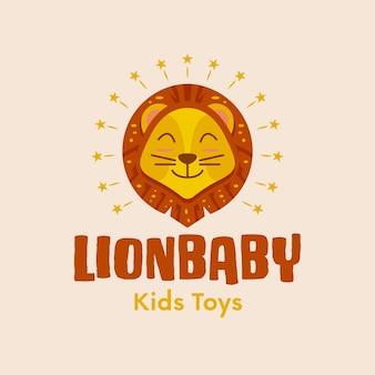 Cute baby lion logo