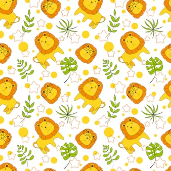 Cute baby lion playing seamless pattern