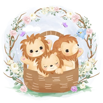 Cute baby lion playing together illustration in watercolor