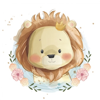 Cute baby lion portrait