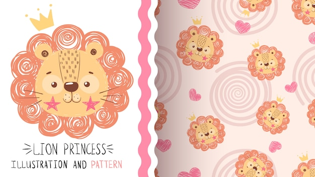 Cute baby lion seamless pattern