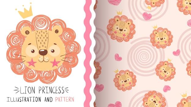 귀여운 아기 사자 원활한 패턴