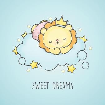 青い雲の上で眠っているかわいい赤ちゃんライオン