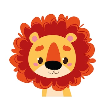 Cute baby lion. wild african animal avatar. portrait illustration isolated on white. design for baby print boy and girl, postcard, clothes, banner clipart fun