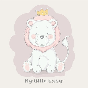Cute baby lion with crown cartoon