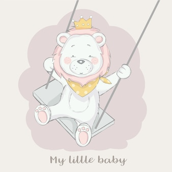 Cute baby lion  with play swing cartoon hand drawn style