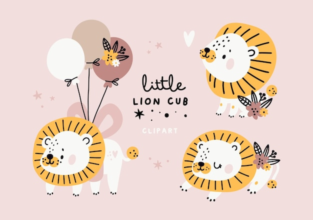 Cute baby lions set with flowers in pastel colors