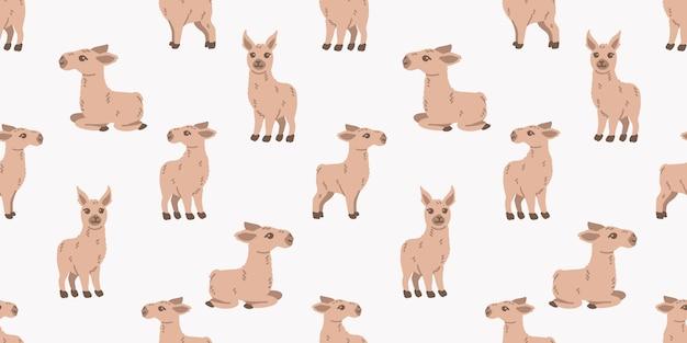 Cute baby llama animal seamless pattern doodle cartoon background illustration
