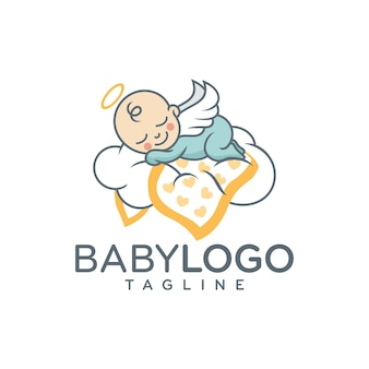 Cute baby logo design vector