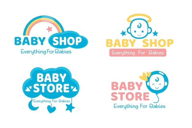 Cute baby logo set