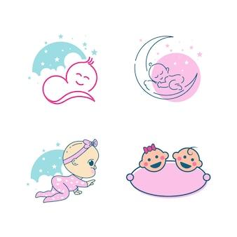 귀여운 아기 로고 벡터 아이콘 디자인 일러스트 템플릿