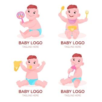 Набор милых детских логотипов