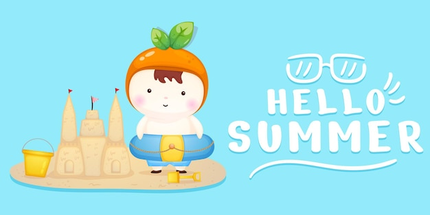 Cute baby make sand castle with summer greeting banner
