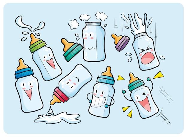 카와이 스타일의 귀여운 아기 우유 병 캐릭터