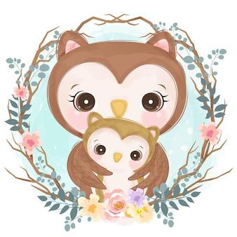保育園の装飾のための水彩画スタイルのかわいい赤ちゃんのお母さんと赤ちゃんフクロウ