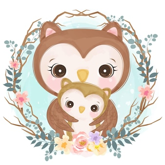 Cute baby mom and baby owl in watercolor style for nursery decoration