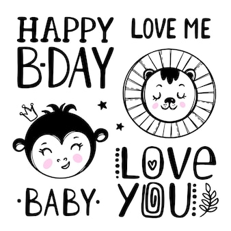 Cute baby monkey and bear. birthday quotes. cartoon hand drawn monochrome sketch with handwriting text clip art