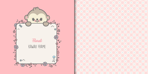 Cute baby monkey card with floral frame and seamless pattern