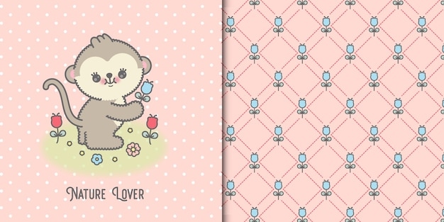 Cute baby monkey card with flowers and floral seamless pattern