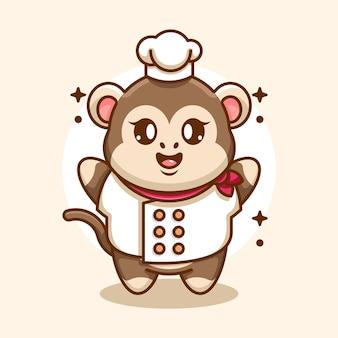 Cute baby monkey chef cartoon