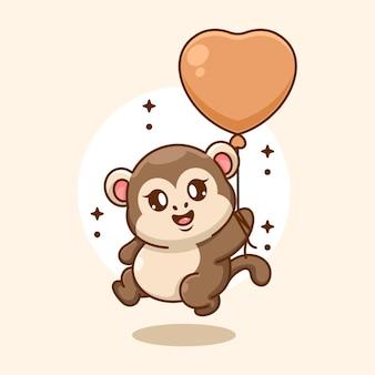 Cute baby monkey flying with balloon cartoon