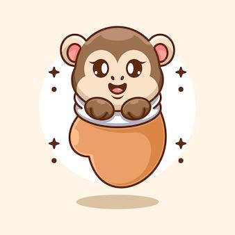 Cute baby monkey in glove cartoon