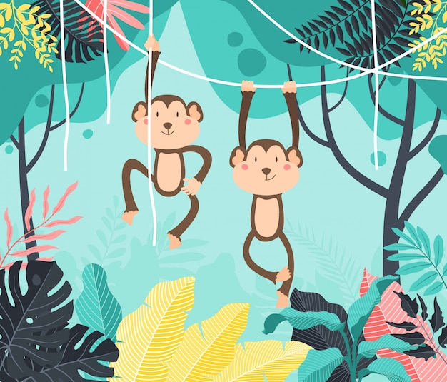 Cute baby monkey hanging on tree. cute monkey swinging from vines, lianes.
