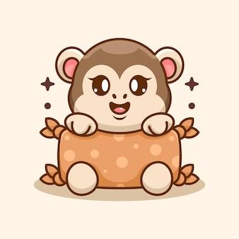 Cute baby monkey hugging pillow