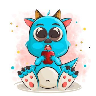 사과 그림을 들고 귀여운 아기 괴물 만화 캐릭터