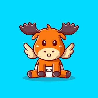 귀여운 아기 무스 앉아 만화 아이콘 그림입니다. 동물 자연 아이콘 개념 절연입니다. 플랫 만화 스타일