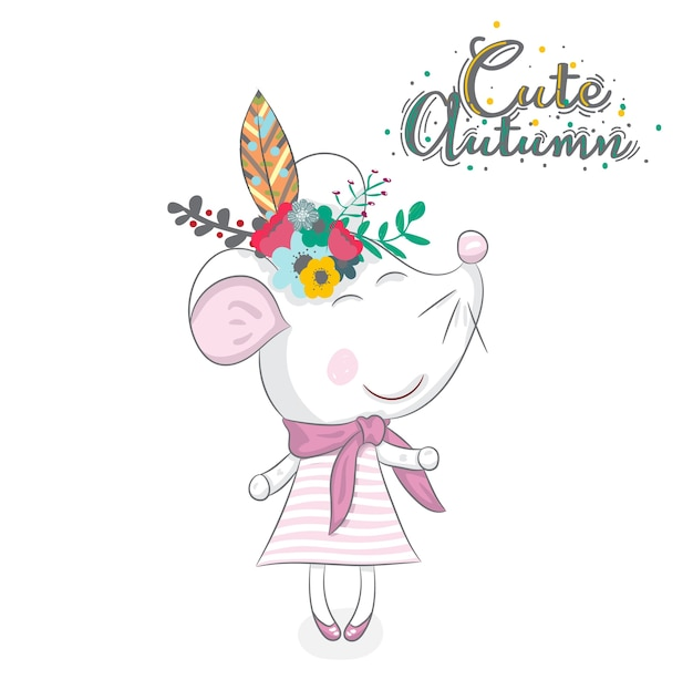 Cute baby mouse cartoon hand drawn