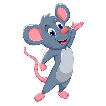 Cute baby mouse cartoon presenting
